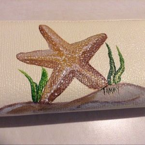 Handbags - Handpainted Starfish faux leather wallet, new.